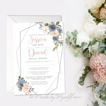 Geo Floral Blush Pink and Dusky Blue Wedding Invitation